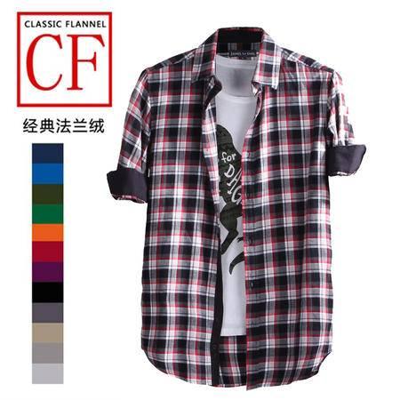占姆士秋冬韩版纯棉法兰绒男式时尚休闲格子经典长袖衬衫