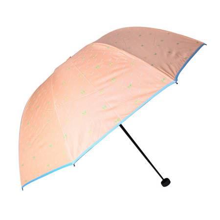 天堂伞 青春 三折钢骨黑胶晴雨伞公主伞防晒防紫外线遮阳伞