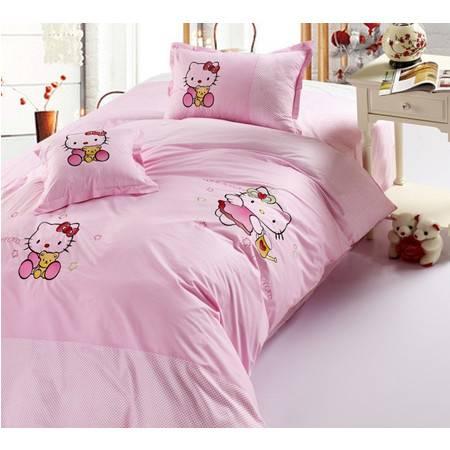 瀚庭-全棉印花儿童床四件套-可爱猫咪(粉)