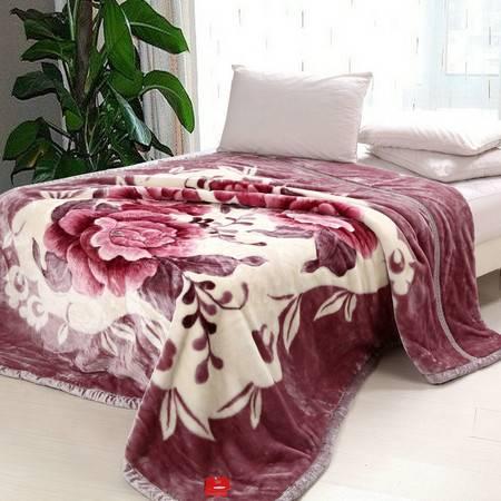 瀚庭-拉舍尔毛毯-富贵牡丹