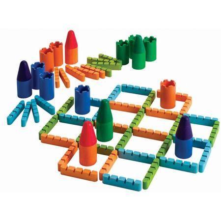智乐美-竹制环保三人围墙城堡游戏(家庭桌面益智游戏 一家三口其乐融融)