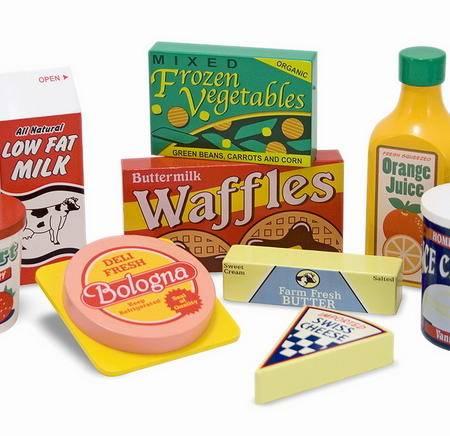 智乐美环保木制玩具 冰箱仿真食物大组合 过家家 J-YL20110059