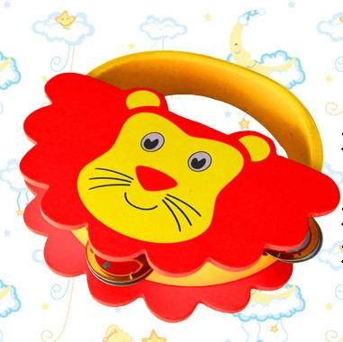 木制婴幼儿狮子铃鼓