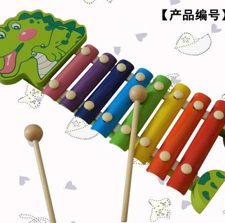 卡通鳄鱼手敲木制八音琴