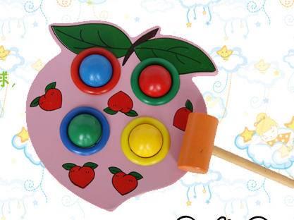 儿童益智敲打四孔水蜜桃打球台