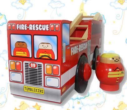 木制滚蛋人消防车(增强互动智力开发)
