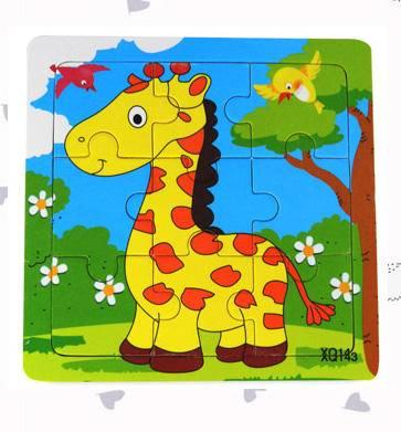 长颈鹿彩色九格拼图