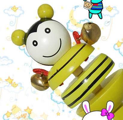 木制卡通蜜蜂动物摇铃