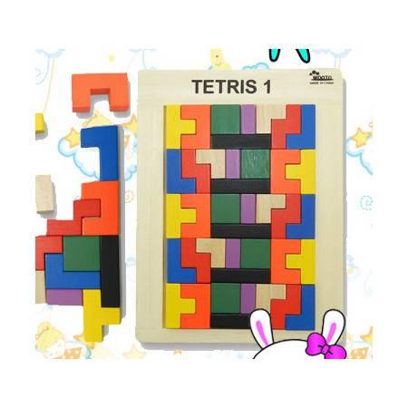 橡胶木拼插俄罗斯方块积木游戏(40块)