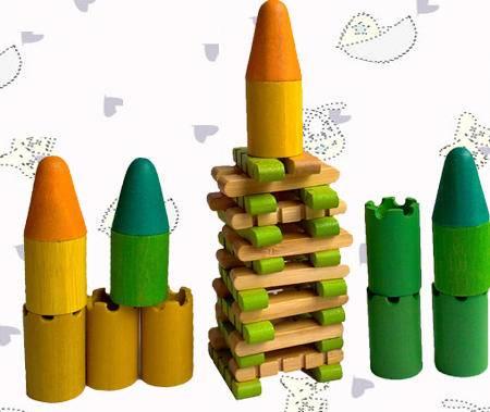 竹制环保两人围墙城堡游戏(家庭桌面益智游戏)