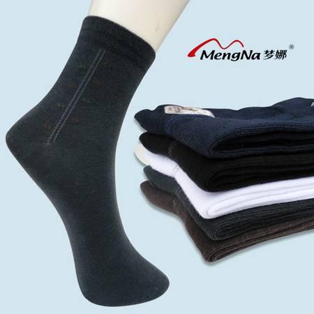 梦娜精品商务袜 休闲全棉男袜 冬季厚款 抗菌防臭 竖条中筒男厚棉袜4双装A3596