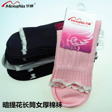 梦娜秋冬新款加厚全棉保暖暗提花花边长筒女中厚棉袜4双装B5552