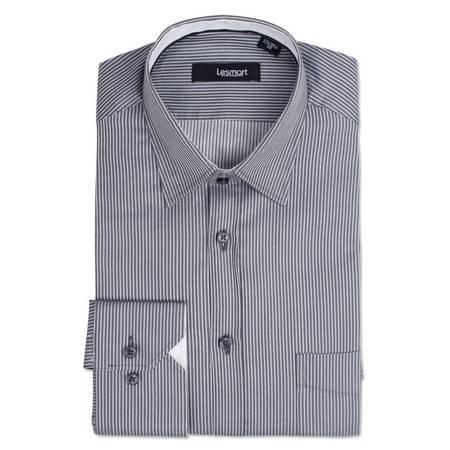 【LESMART】男式衬衫 长袖 男士色织印花条纹长袖衬衫 MTL1181