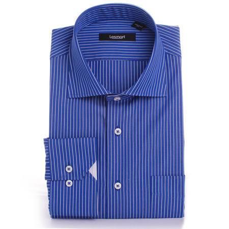 【lesmart】男装 商务休闲 男士长袖衬衫蓝底白条  男士长袖衬衫蓝底白条 MSL0903