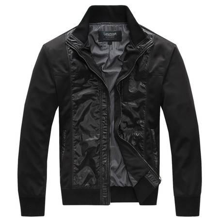 莱斯玛特 男装新款 男士黑色拼接夹克男士立领夹克 MDME1203