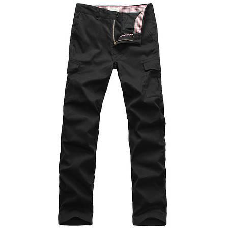 莱斯玛特 男装 黑色直筒裤 多口袋休闲工装裤 男士长裤修身韩版 MDMK1235