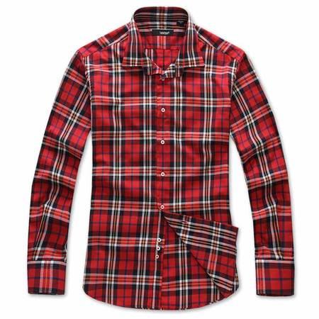 lesmart男装秋装新品 男士英伦风红色格子衬衫 衬衣 SW14168
