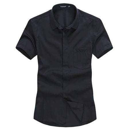 lesmart莱斯玛特 夏新款男士白色短袖衬衫男装 纯色商务休闲短袖衬衣男 SX13092