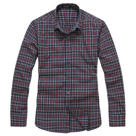 莱斯玛特 新款秋季男士长袖衬衫 男士修身显瘦格纹衬衣 SW13383