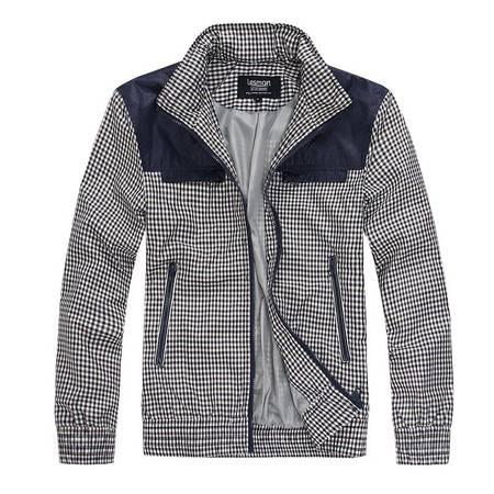 Lesmart莱斯玛特 男士 新款秋装男士外套休闲直筒格纹拼接夹克男装外套 JX13015