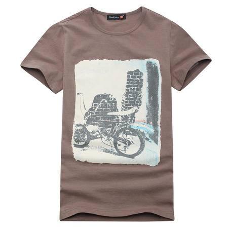 GF男装 夏装男士复古单车印花短袖t恤 男圆领衫T恤 咖啡色GEXZ01G03