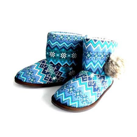 江水来女式毛线绒居家/外出保暖短靴子 HH-04 蓝色
