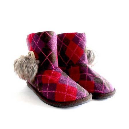 江水来女式毛线绒居家/外出保暖短靴子 HH-20 红紫色 38码