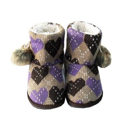 江水来女式毛线绒居家/外出保暖短靴子 HH-13 紫色/黑色桃心款