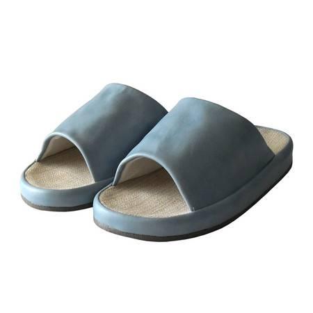 江水来男式人革夏季拖鞋-蓝色 280MM