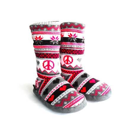 江水来 女童毛线绒居家/外出保暖长靴子 黑色/粉色雪花款