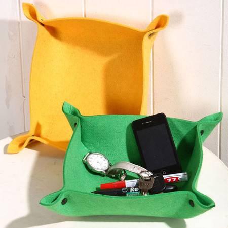 毛毡收纳盒(黄)小物件收纳整理床头收纳手机充电器钥匙