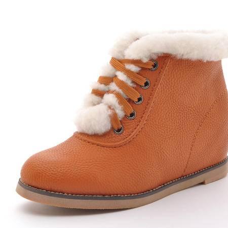 Clcoyote英伦短靴真皮牛筋底系带内增高鞋圆头女鞋HR-099