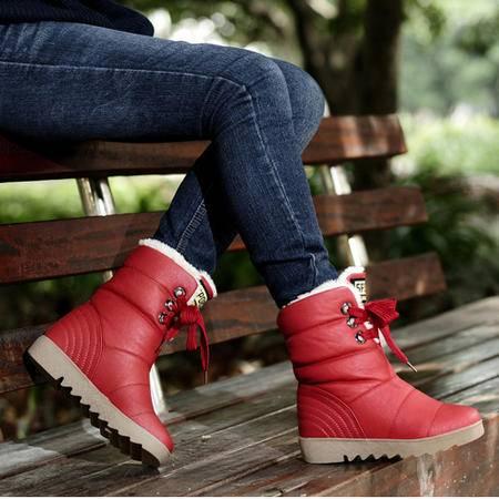 clcoyote冬季女靴内增高中筒靴女士防水雪地靴平底棉鞋子公主靴HR-368