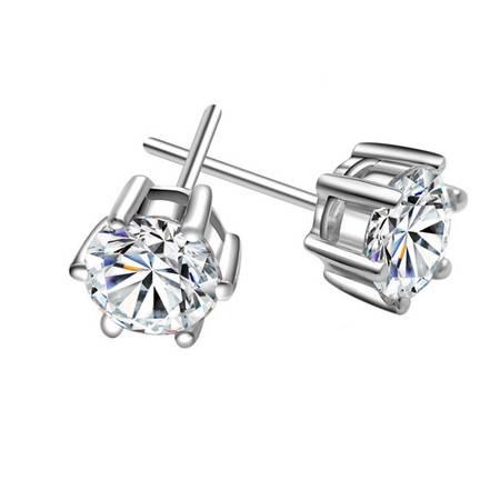 【Pins品尚】925纯银瑞士钻六爪耳钉耳饰(小号直径3.5mm)