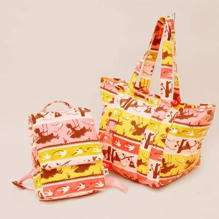 美琦兔 秘密花园系列mm08 帆布 亲子大小包两件套组
