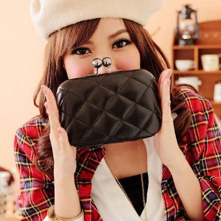 奥狄菲 外贸订单 时尚优质 欧美风格 大牌菱格可爱链条小箱包 A074