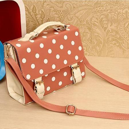 奥狄菲 2012新款 波点韩版糖果色邮差包可爱方形圆点手提单肩包 A086