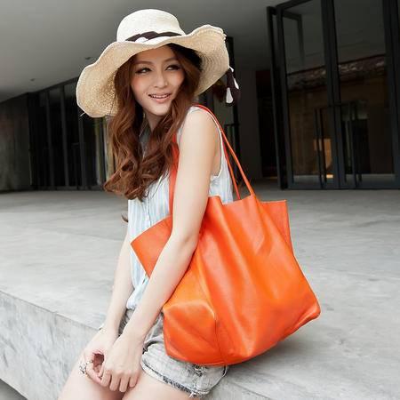 奥狄菲 2012欧美时尚纯牛皮复古购物袋真皮大包单肩手提包Y011