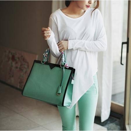 鹰冠真皮质感韩版新款撞色单肩手提斜跨包时尚包包YG055