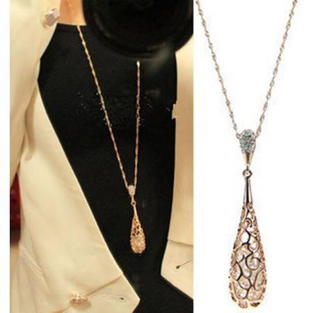 柏妃韩国新款时尚镂空闪钻多层水晶长款项链 女 毛衣链B106