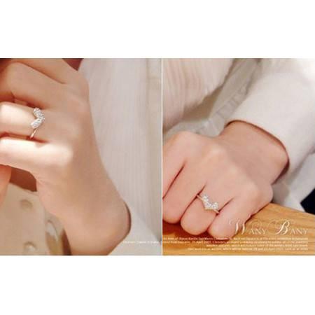 柏妃 韩版水晶钻石爱心潮人情人节桃心形戒指环戒子 B009