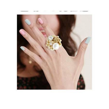 柏妃 韩剧奢华风 珍珠玫瑰花 大小姐系列 开口戒指 指环 B029