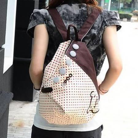 积卡逊 新款学院风潮休闲韩版甜美淑女可爱帆布双肩背包GC-659