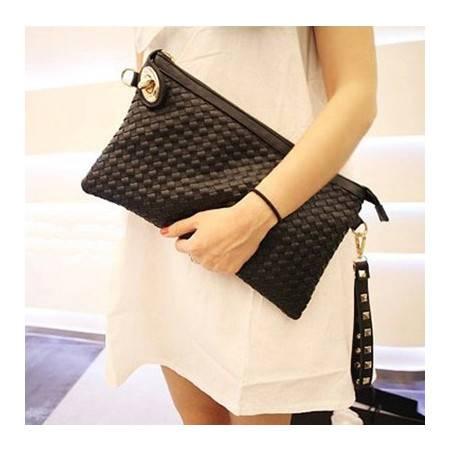 积卡逊-韩版潮单肩斜跨女士包袋 新款信封包复古编织锁扣式手拿手包GC-A17