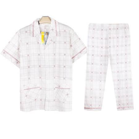 金丰田夏季男士纯棉格子短袖睡衣套装1584