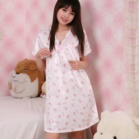 金丰田夏季女士仿真丝中长款短袖蝴蝶结睡裙1608