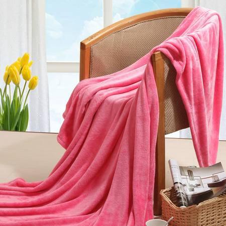 伊莲家纺PISCES 舒暖纯色珊瑚绒毯--西瓜红  YL----13SHR0011M