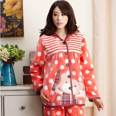秋冬新品女士保暖加厚珊瑚绒睡衣女冬法兰绒睡衣可爱卡通家居服套装A102