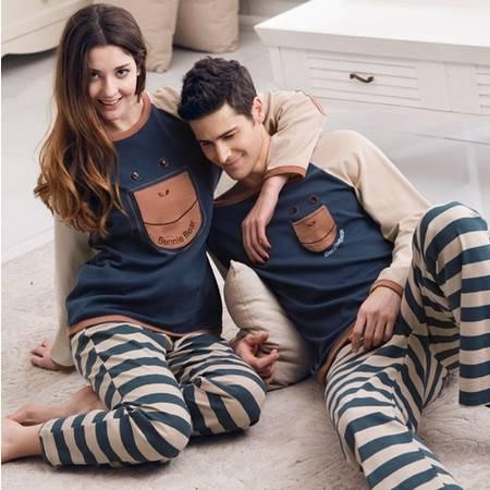 情侣家居服女人睡衣男女纯棉长袖长裤春季舒适情侣睡衣套装A172