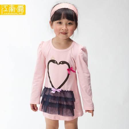江南霖童装女童全棉连衣裙小天鹅长袖公主裙JAXZ4114